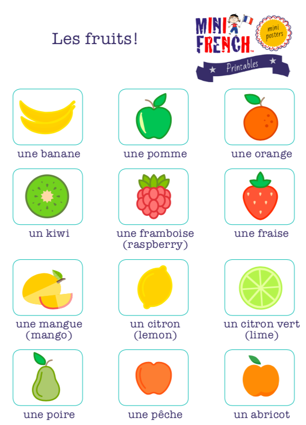 Kids French poster les fruits