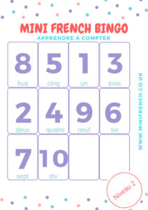 COUNT IN FRENCH PRESCHOOLER BINGO